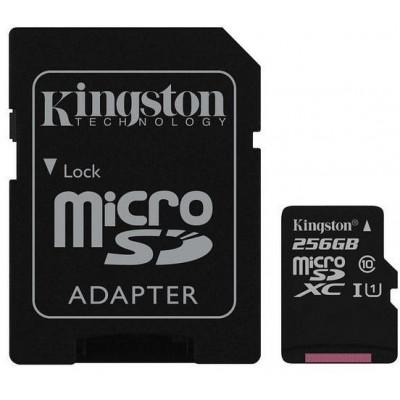 microSDXC Karta 256GB - Kingston UHS-I, Class 10 + SD adapter