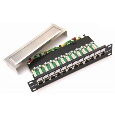 """PATCHP1U12PHZF-EX - LEXI-Net Patch panel EXCLUSIVE osazený 12port Cat 5e 10"""" s hřebínkem FTP"""
