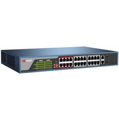 DS-3E0326P-E - použitý - switch 24x100TX PoE + 2x Uplink 1000M Combo port, 370W, Super PoE - dosah až 250m